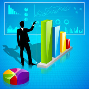 Businessman analysing Statistics