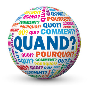 "Globe ""QUAND?"" (questions aide calendrier agenda temps planning)"