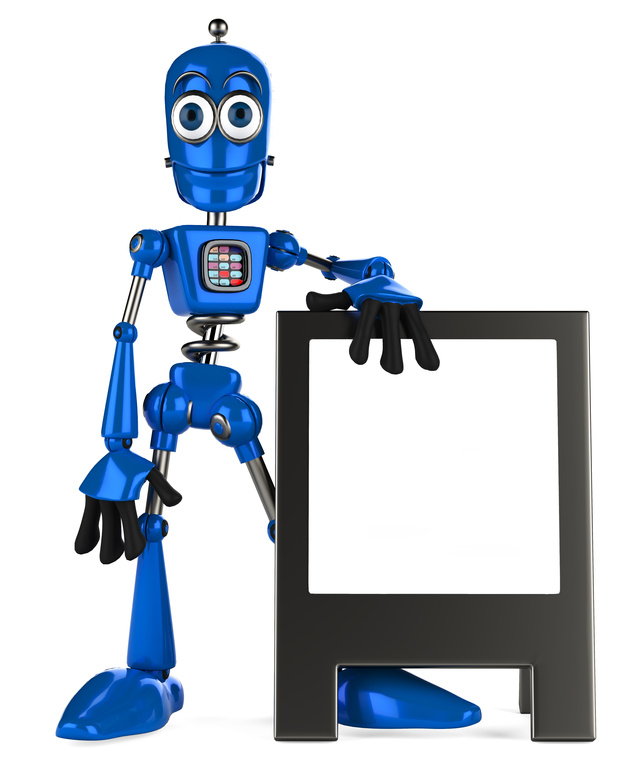 blue robot and advertiseboard