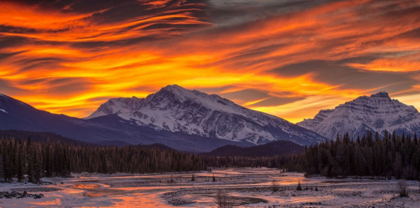 River flowing with a mountain in the background, Athabasca River, Mt Kerkeslin, Jasper National Park, Alberta, Canada
