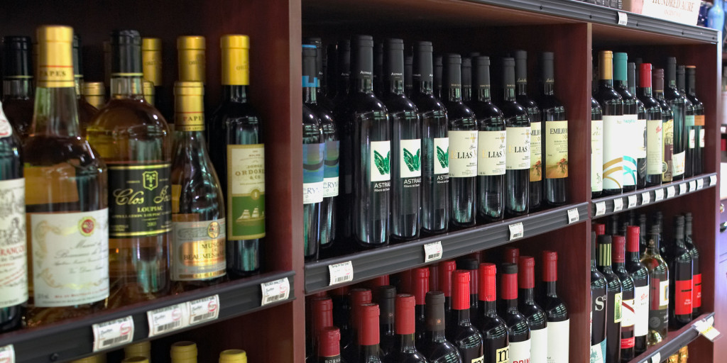 Bottles Of Wine For Sale In Wine Retail Store, California USA
