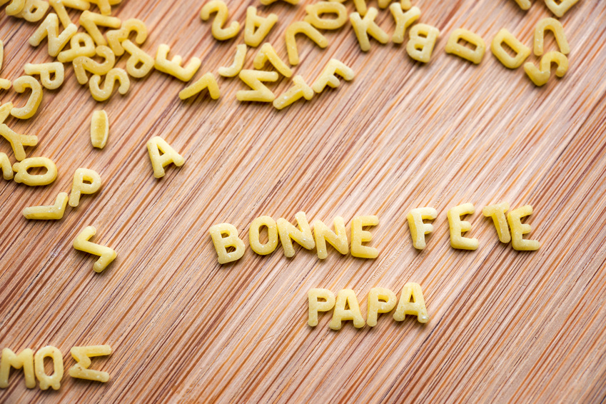Pasta forming the text Bonne Fete Papa, meaning Happy Fathers Day in French
