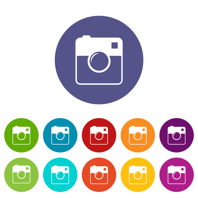 Camera web flat icon in different colors