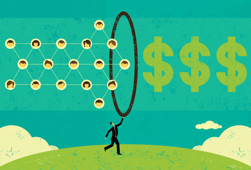 Monetizing Social Networks A businessman using a social network to make money. The businessman,social network, hoop, and dollar signs are on a separate layer from the background.
