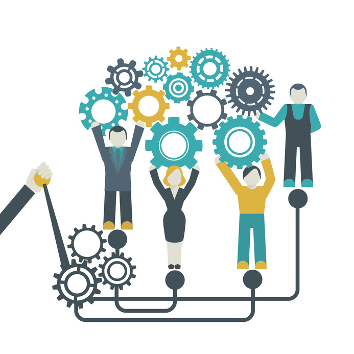 Teamwork company organization concept with people holding cog wheels vector illustration