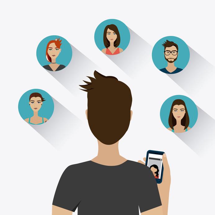 Chat mobile design over white background, vector illustration.