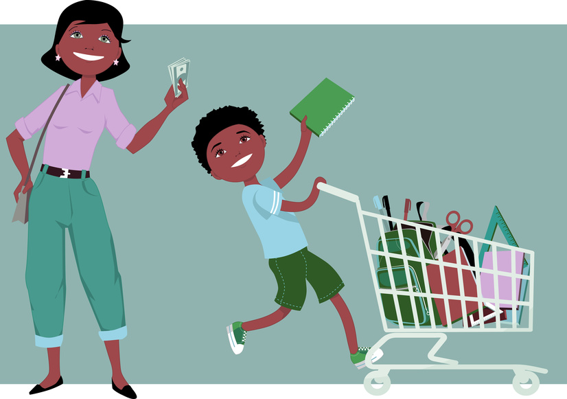 Cute cartoon mother holding saved money in her hand, her little boy riding a shopping cart, filled with school supplies, vector illustration, no transparencies, EPS 8